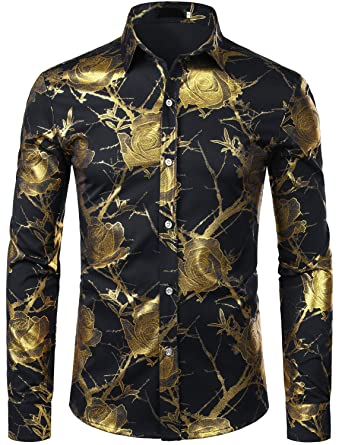 c8b8dc5ef20 ZEROYAA Men's 3D Gold Rose Design Slim Fit Long Sleeve Floral Print Dress  Shirts Prom
