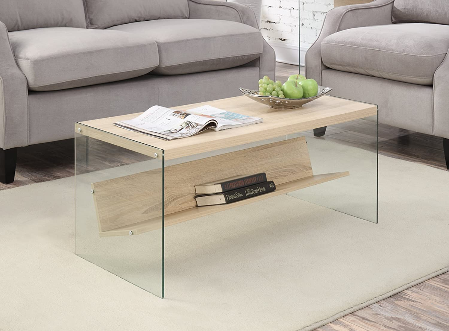 White glass coffee table - Amazon Com Convenience Concepts Soho Coffee Table Weathered White Kitchen Dining