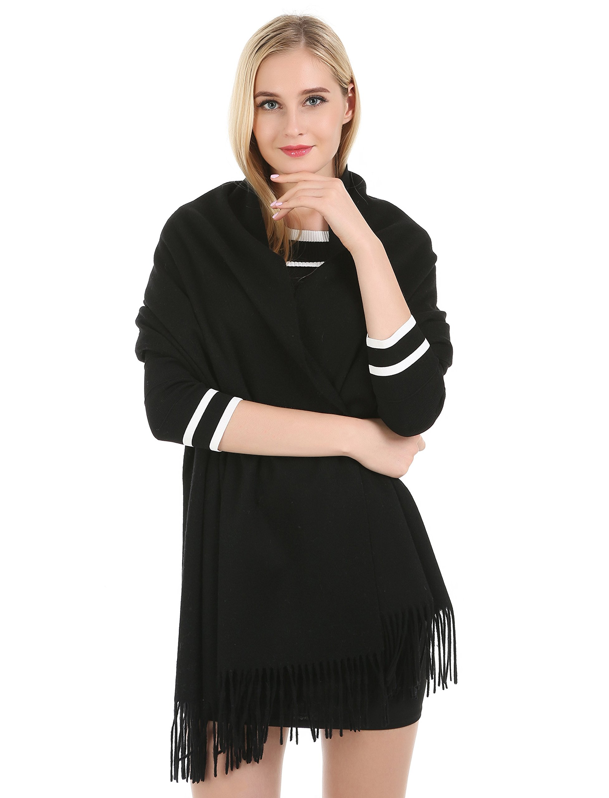 Saferin Extra Large 78'' X 28'' Women and Men Thick Solid Cashmere Pashmina Wrap Shawl Scarf with Gift Box(1.black) by SAFERIN (Image #2)