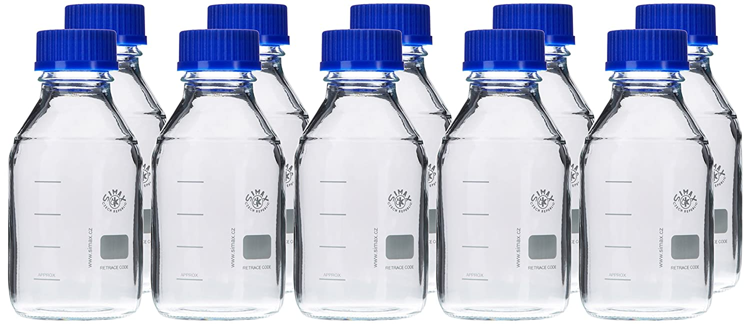 Neolab E-1431, Laboratory Bottles GL 45 500 ml, ISO Thread, Cap and Spout Ring, Pack of 10