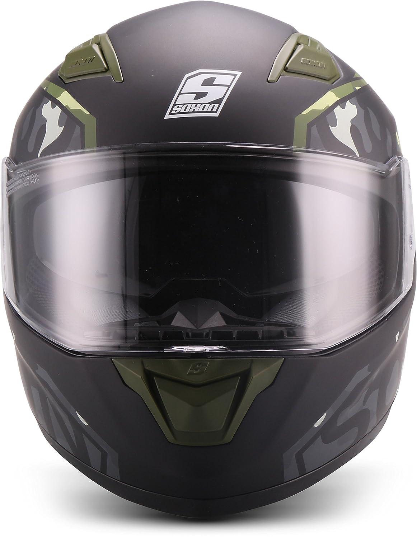 """61-62cm Soxon/® ST-1000 Race /""""Green/"""" /· Integral-Helm /· Full-Face Motorrad-Helm Roller-Helm Scooter-Helm Cruiser Sturz-Helm Street-Fighter-Helm Sport MTB /· ECE Sonnenvisier Schnellverschluss Tasche XL"""