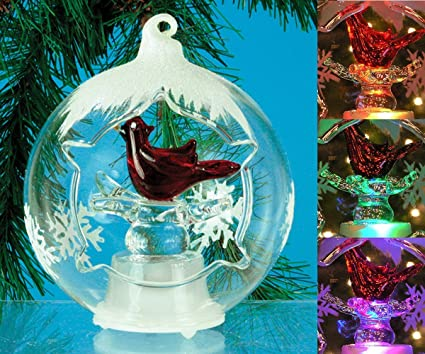 cardinal led christmas ornament light up led color changing lights hand painted glitter snowflakes