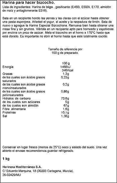 Harimsa harina para hacer bizcocho harisma 1kg.: Amazon.es ...