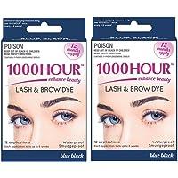 1000Hour Combo Pack! 1000 Hour Eyelash & Brow Dye/Tint Kit Permanent Mascara (Blue Black & Blue Black)