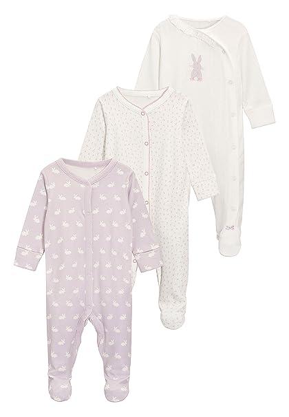 next Bebé-Niñas Pack De Tres Pijamas Tipo Pelele con Diseño De Conejitos (0