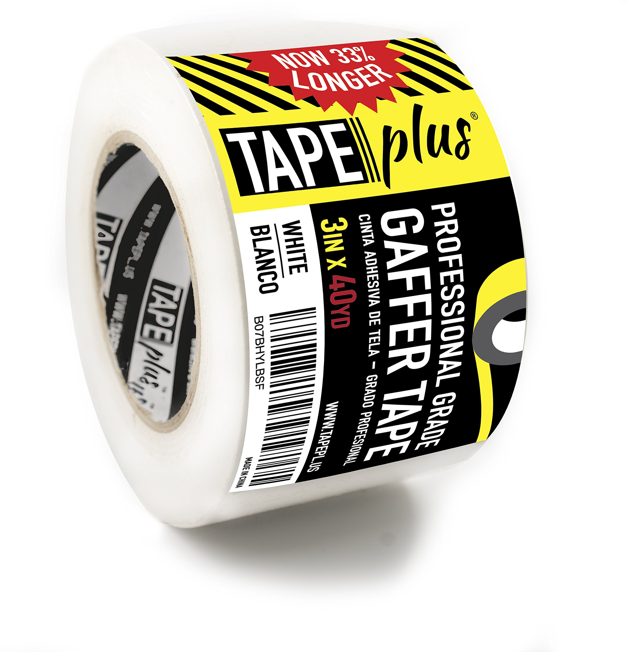 Gaffers Tape - 3 inch by 40 Yards in White - Get 33% More! High End Professional Grade - Gaffer Tape is The Perfect Alternative to Duct Tape, Electrical Tape, and Other Adhesives