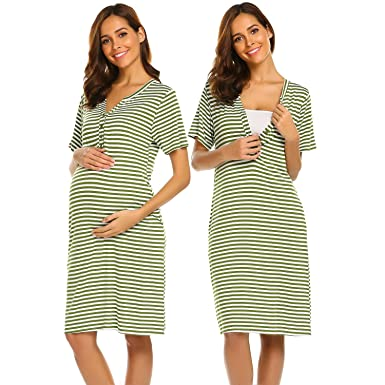 3a61ce4094a Ekouaer Womens Delivery Labor Maternity Nursing Nightgown Pregnancy Gown  for Hospital Breastfeeding Dress