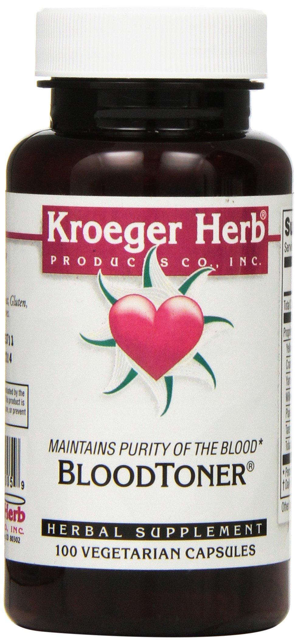 Kroeger Herb Capsules, Blood Toner Vegetarian, 100 Count