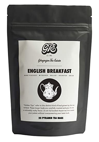 English Breakfast Tea Bags - 16 Pyramid Tea Bags - Strong Breakfast Black  Tea - Farm2Cup -