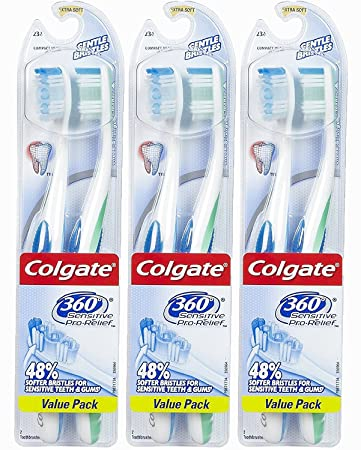 Image Unavailable. Image not available for. Color  Colgate 360 Degree  Sensitive Pro-relief Extra Soft Toothbrush-2 ... 999857a3da76