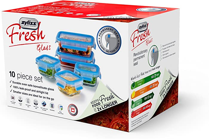 "Zyliss""Fresh"" Glass Food Storage Container 10-Piece Set with Snap Locking Lids – 100% Leak Proof Airtight - Stackable"