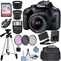 Canon EOS 4000D (Rebel T100) Digital SLR Camera w/ 18-55MM DC III Lens Kit (Black) with Accessory Bundle, Package Includes: SanDisk 32GB Card + DSLR Bag + 50'' Tripod + Ultimate Deals Cloth