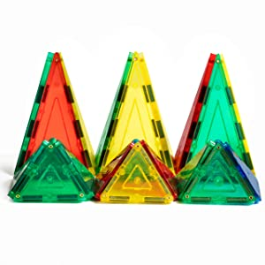 Magnetic Stick N Stack 48 Piece Magnetic Tiles 3D Construction Building Blocks Award Winning STEM Educational Triangle Accessories Set with 4 Types of Triangles for Kids