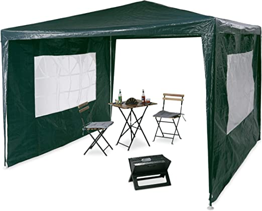 Relaxdays Pavilion 3x3 m, 2 paneles laterales, estructura de metal ...