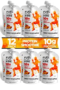 Fuel For Fire - Sweet Potato Apple (12 Pack) Fruit & Protein Smoothie Squeeze Pouch | Perfect for Workouts, Kids, Snacking - Gluten Free, Soy Free, Kosher (4.5 ounce pouches)
