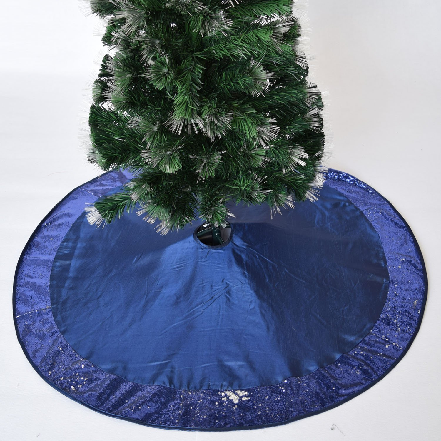 Gireshome 36 Blue faux silk with Sparkle Glitter sequin border Christmas tree skirt XMAS Tree Decoration Merry Christmas Supplies Christmas Decoration
