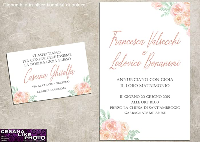 547bf1a702c1 Partecipazioni matrimonio personalizzate inviti nozze fiori acquerello  pesca 10 pz
