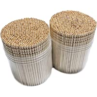 Makerstep Wooden Toothpicks 1000 Pieces Ornate Handle, Sturdy Safe Large Round Storage...