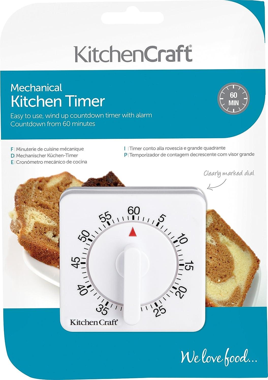 KitchenCraft Wind-Up Mechanical 1-Hour Kitchen Timer: Amazon.co.uk ...