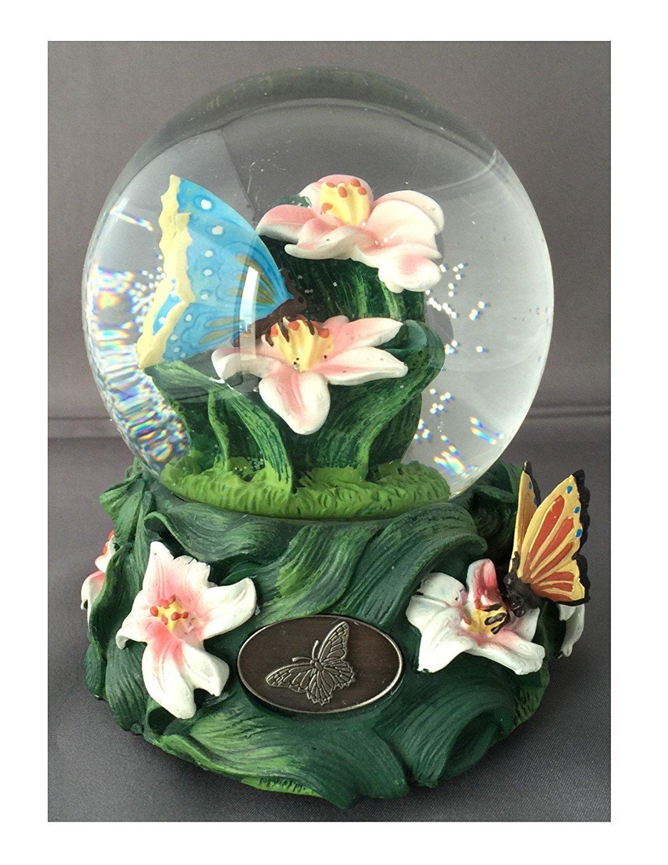 欲しいの カラフルバタフライGarden with with lillies- Sculptured樹脂水ボール音楽ボックス5 4 3 3/ 4