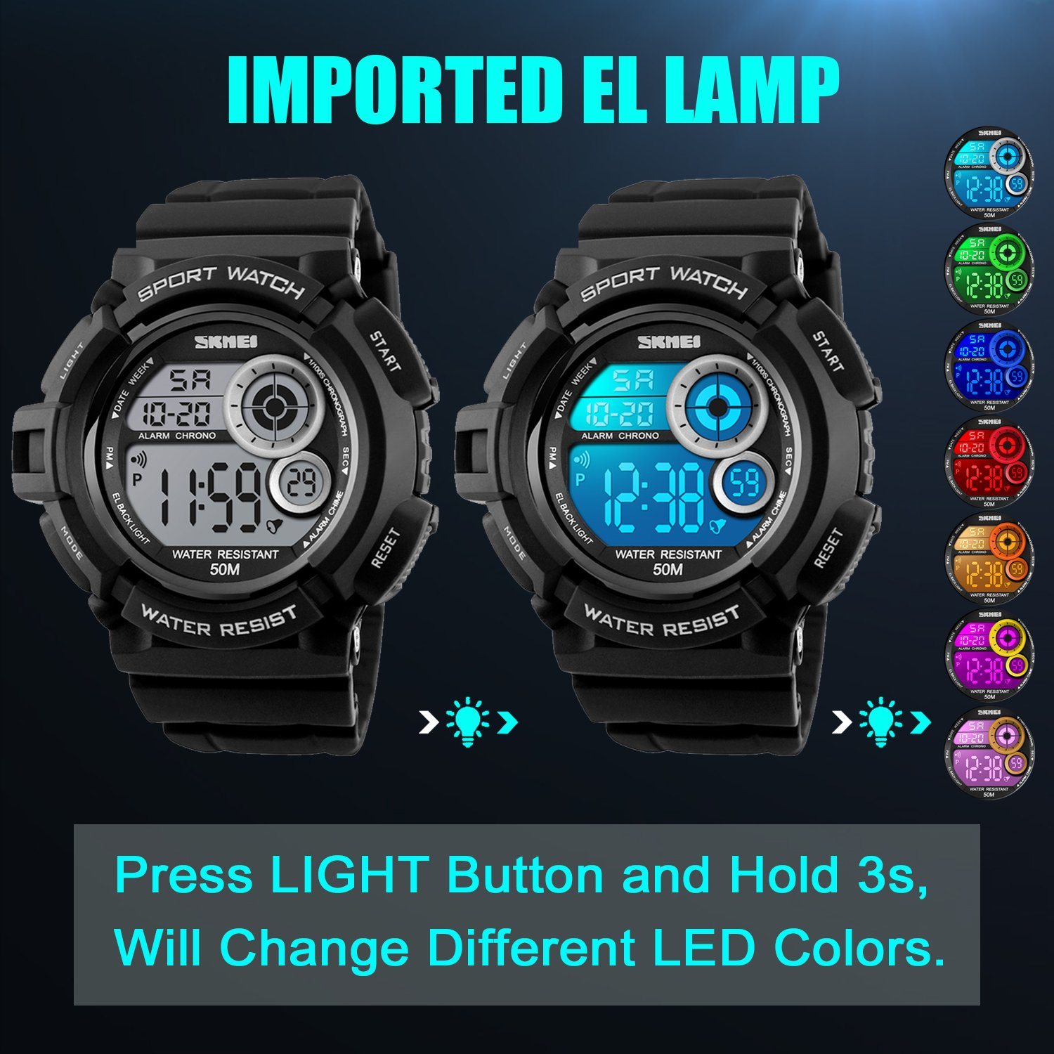 Men's Digital Sports Watch LED Screen Large Face Military Watches and Waterproof Casual Luminous Stopwatch Alarm Simple Army Watch Black by USWAT (Image #3)