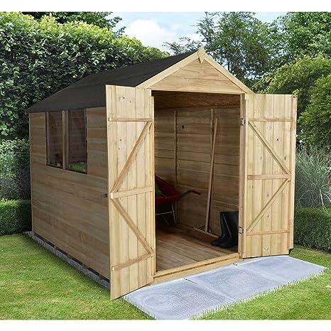 Apex 8 x 6 doble puerta jardín de madera solapada tratada a presión