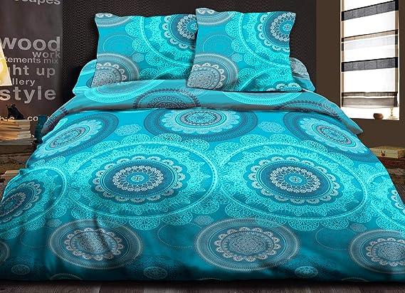 Funda nórdica de 220 x 240 + 2 Fundas Pur algodón 57 Hilos Mandala, Color Turquesa: Amazon.es: Hogar