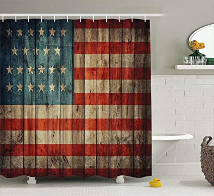Ashasds Shower CurtainsAmerican USA Flag Decor By Blue RedShower Curtain Clear