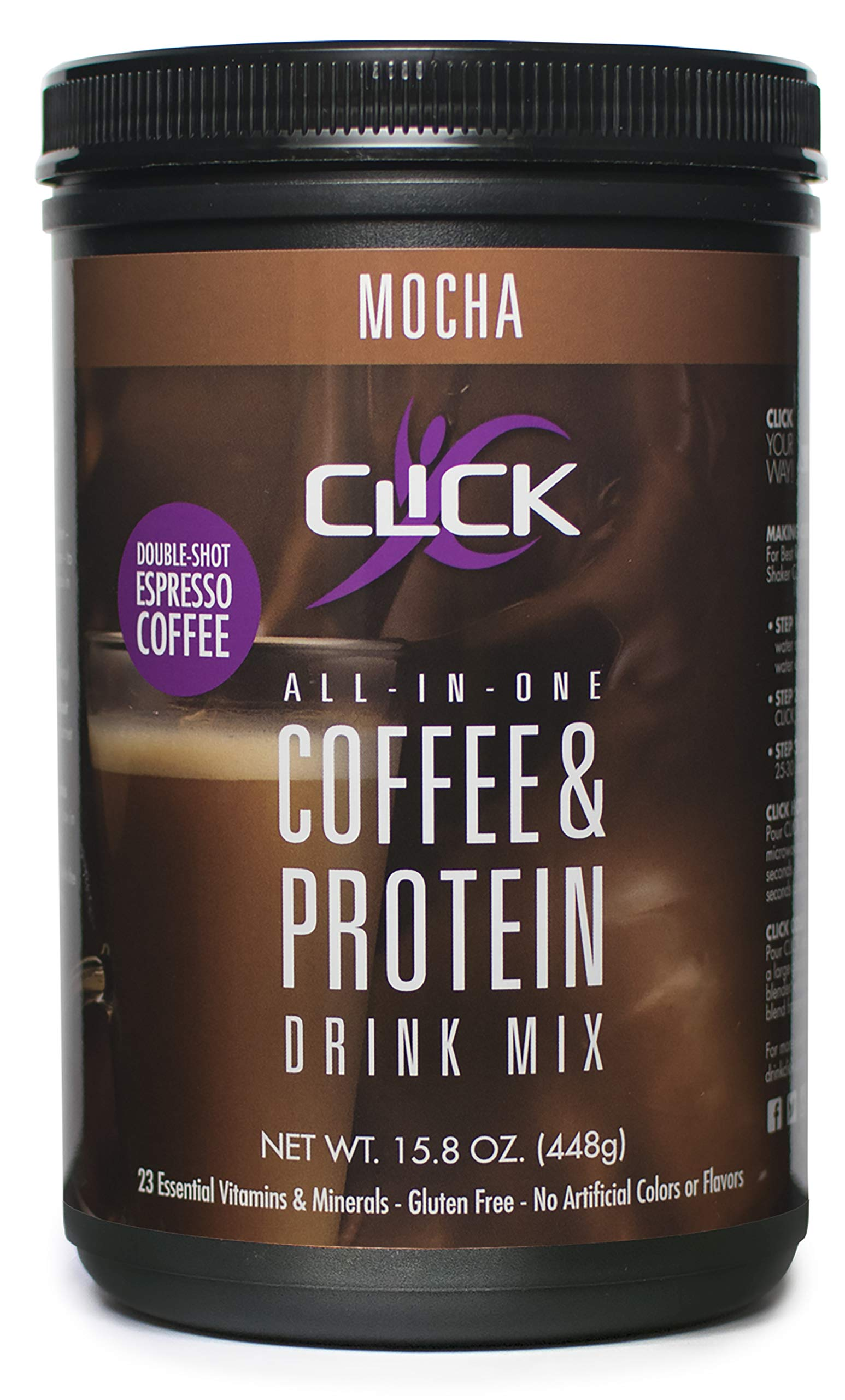 CLICK All-In-One Protein & Coffee Meal Replacement Drink Mix, Mocha,