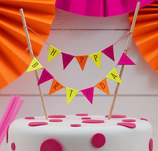 Astounding Ginger Ray Neon Fluorescent Happy Birthday Cake Bunting Topper Birthday Cards Printable Riciscafe Filternl
