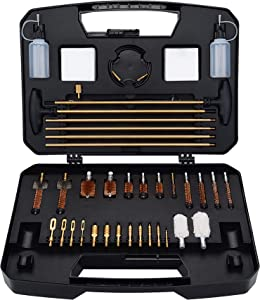 BOOSTEADY Universal Gun Cleaning Kit Rifle Handgun Shotgun Cleaning Kit with Range Size Deluxe Portable Case for .17 .22 .243 .270 .30 .357 .40 .45 Cal 12GA 20GA