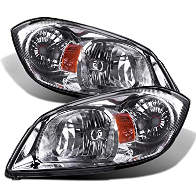 AUTOSAVER88 Headlight Assembly Compatible with 2005-2010 Chevy Cobalt/ 2005-2006 Pursuit/ 2007-2009 Pontiac G5 Chrome Housing Amber Reflector Clear Lens: Automotive
