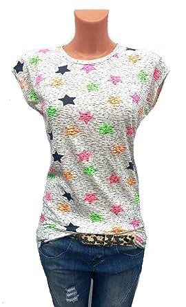 e2da4f0f618859 Damen T-Shirt Bluse kurzarm shirt Sterne Print grau bunt oversize Blogger  (36)