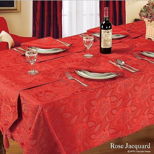 Camino de mesa rojo lujo rosa Jacquard diseño: Amazon.es: Hogar