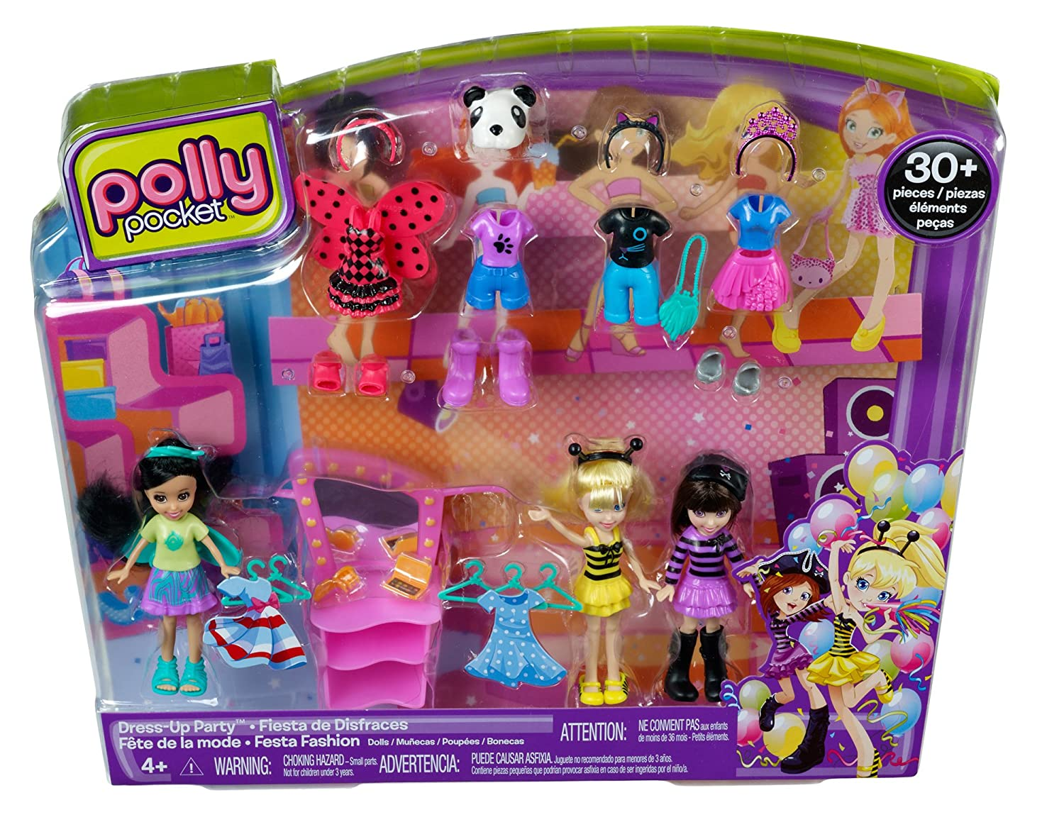 Amazon.com: Polly Pocket Dress-Up Party Doll Pack: Toys & Games