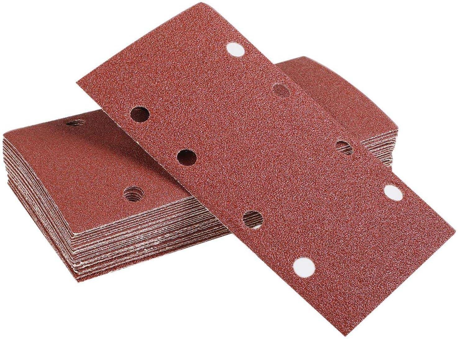 Farfly 25unids almohadillas de lijado lija de papel de gancho y bucle arena hoja perforado 8 agujeros granos 40//60//80//120 la hoja apto lijadora Orbital multi-lijadora oxido de aluminio grano