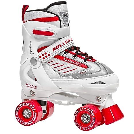 Roller Derby Girls Turbo RTX Adjustable Roller Skates, White, ...