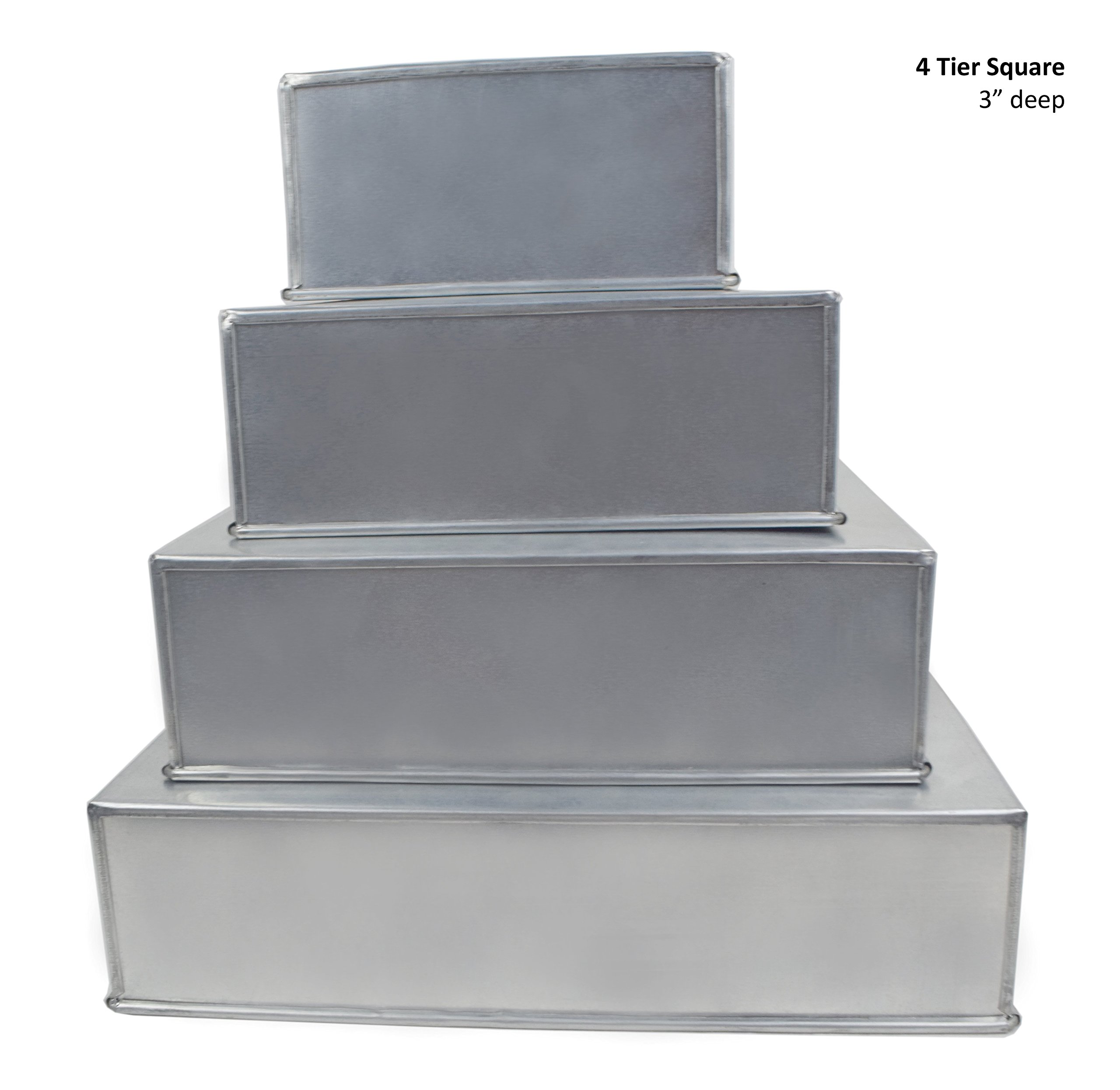 4 Tier Square Multilayer Wedding Birthday Anniversary Baking Cake Tins Cake Pans 6'' 8'' 10'' 12'' - EUROTINS