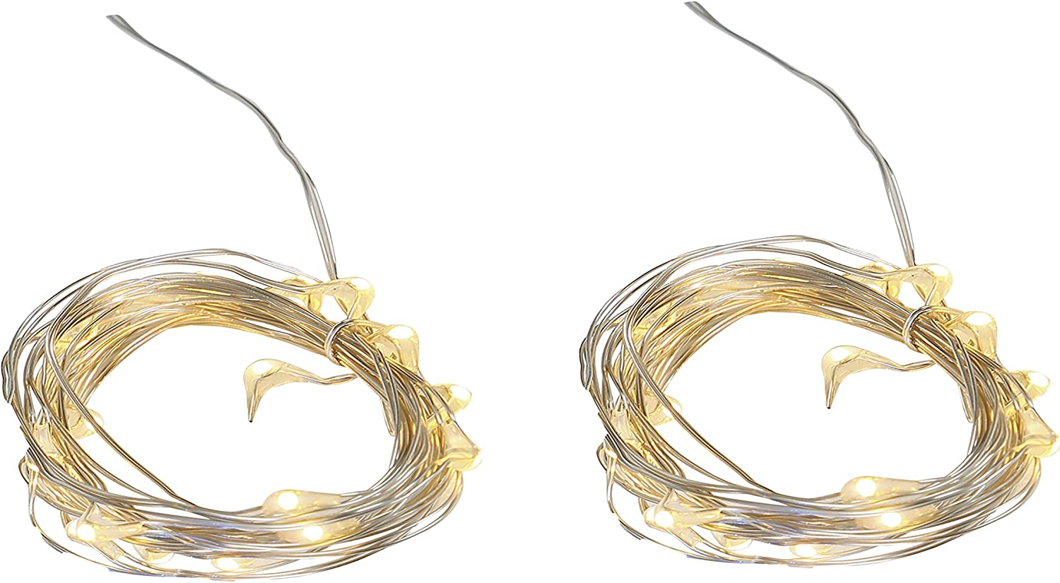 Twinkle Fairy String Lights Strands With 20 LEDs,Timer, Battery operated For Easter, Garden, Home, Wedding, Party, Christmas Decoration(Set of 2) (Warm White)