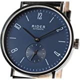 New GT&FQ RIDER M002 Automatic Bauhaus Style Wrist Watch Arabic Atlantic Blue Dial Black Strap Seagull ST17 Movement