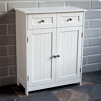 home discount priano 2 drawer 2 door bathroom cabinet storage cupboard floor standing unit white