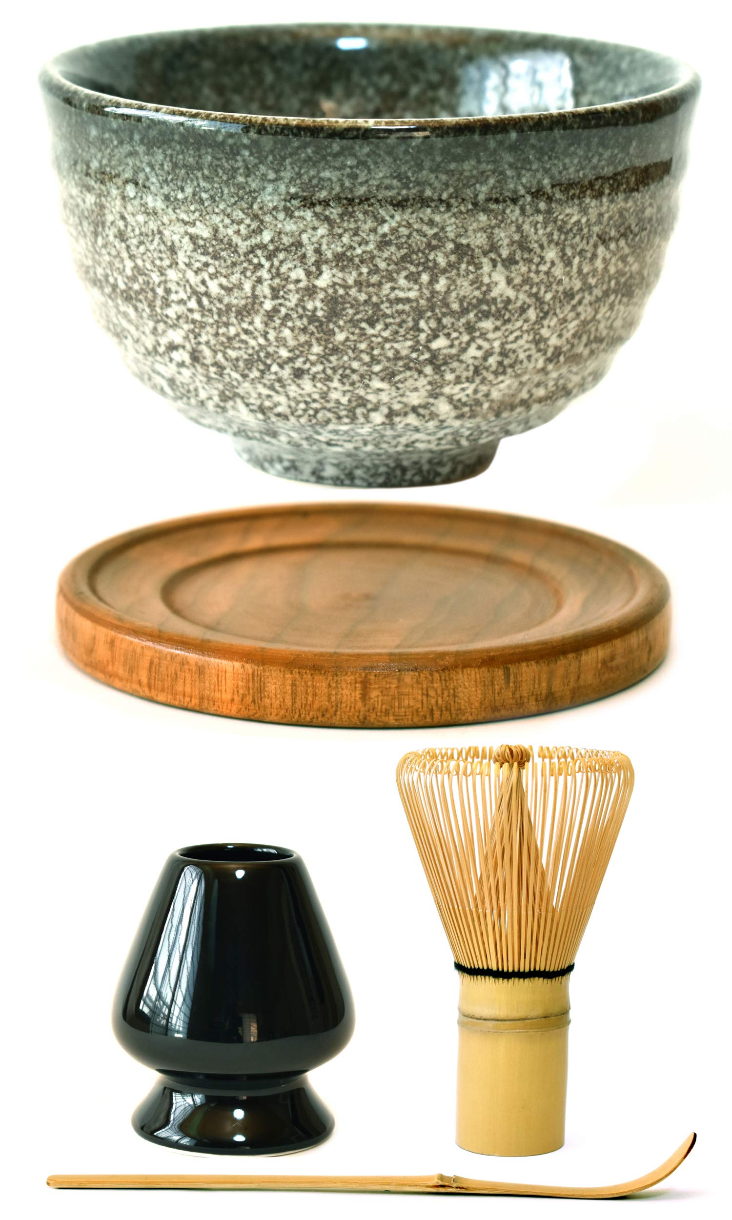Premium Japanese Ceremonial Matcha Green Tea Chawan Bowl Full Kit Set with Accessories and Tools Bamboo Chasen Matcha Whisk Scoop and Holder (Speckled Dark Grey)