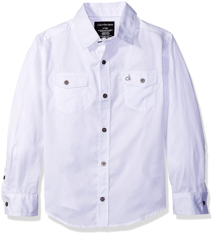 f3dbbf05988f6 Amazon.com  Calvin Klein Big Boys  Solid Poplin Long Sleeve Shirt ...