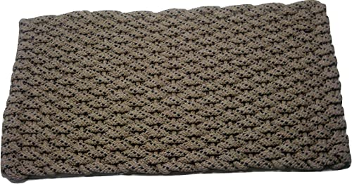 Rockport Rope Door Mats 2034370 Indoor Outdoor Doormats, 20 x 34 , Tan with Navy Specs with Tan Insert