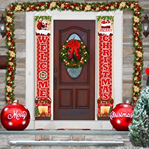 Ushinemi Christmas Door Decorations, Front Porch Xmas Sign, Welcome Merry Christmas Banner Garage Decor, 6X1 Feet