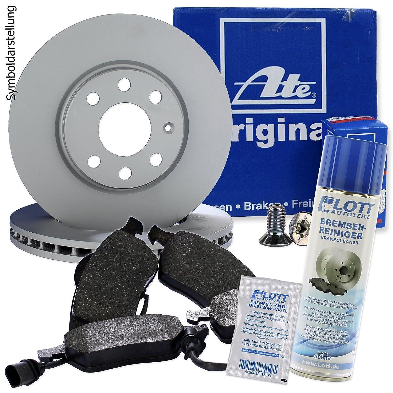 Original ATE Bremsscheiben hinten + ATE Bremsbelä ge Bremsklö tze Bremsenset Bremsenkit Komplettset Hinterachse + Bremsenreiniger LOTT Set