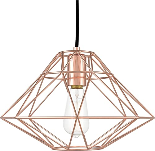 Light Society LS-C137-RG Wellington Geometric Pendant, Rose Gold, Modern Industrial Lighting Fixture