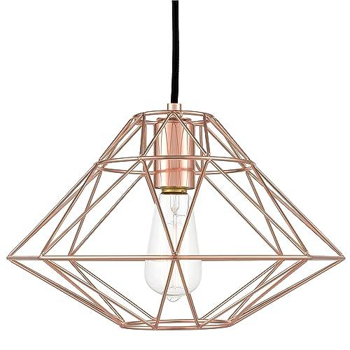 Light Society LS-C137-RG Wellington Geometric Pendant, Rose Gold, Modern Industrial Lighting Fixture