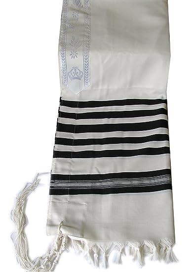 "0ad05ac7cbc66f 100% Virgin Wool Non Slip Tallit Ateret Hatzvi in Black and White Stripes  Size 67"""