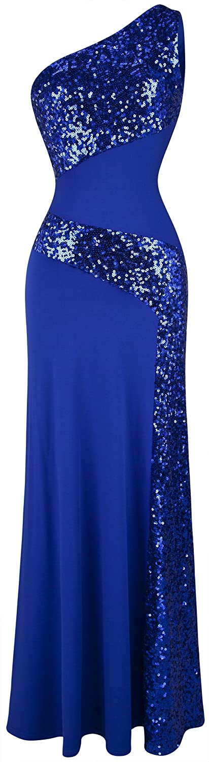 Angel-fashions Women's One Shoulder Sleeveless Sequin Maxi Prom Dresses A-068BE